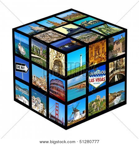 cube with pictures of different landscapes and landmarks, shot by myself