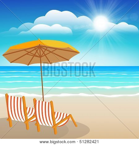 Chairs, Umbrella, Sand And Sea.