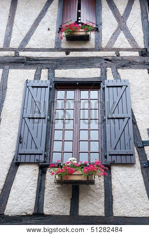French windows with Pelargonium in planters