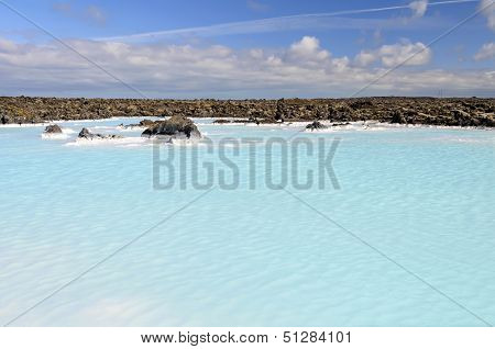 Geothermal Water Pool Near Blue Lagoon Spa in Iceland