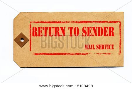 Return To Sender. Grunge Style On A 1930S Tag.