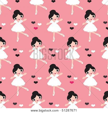 Seamless kids ballerina ballet dance illustration girl background pattern in vector