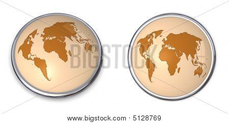 3D Button World Map Brown