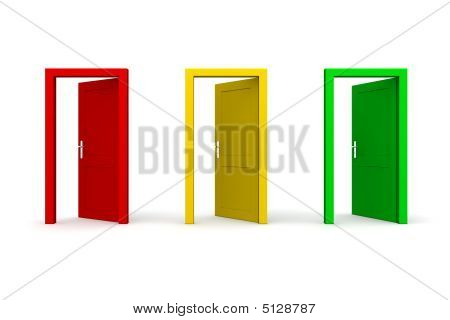 Three Open Coloured Doors