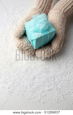 Female hands  in mittens with gift box, on white background