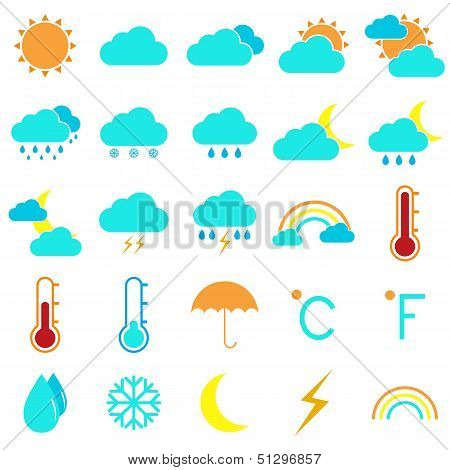 Weather And Climate Color Icons On White Background