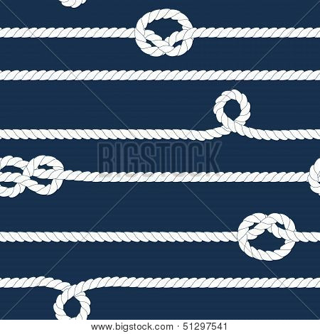 Navy and white ropes with marine knots seamless pattern, vector