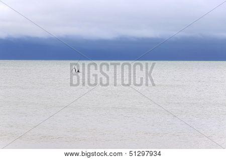 Pititinga (rn, Brazil) Raft And Fishers On The Sea