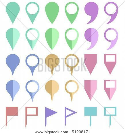 Plain color paper map location pointers isolated on white background.