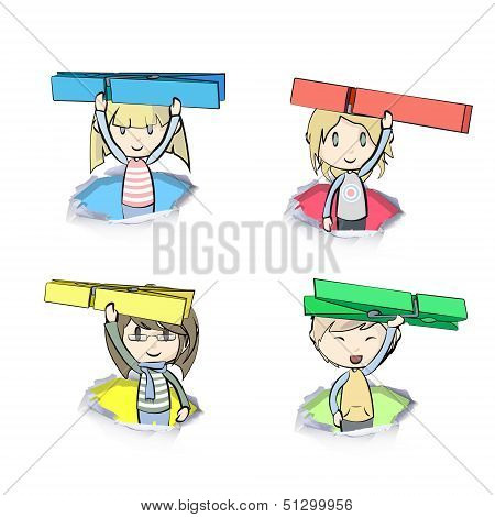 Kids Holding Clothespin  Inside Hole Papers. Vector Design.