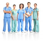 stock photo of nurse uniform  - Smiling medical people with stethoscopes - JPG