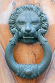 picture of metal sculpture  - Vintage knocker door of metal lion - JPG