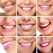 stock photo of denture  - Smiling happy people with healthy teeth - JPG