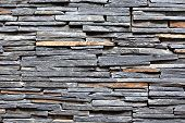 stock photo of slating  - Stacked Slate Stone Wall as horizontal textured background - JPG