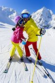 Ski, winter, ski lesson - female skiers on ski run