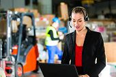 image of forklift driver  - Friendly Woman - JPG