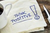 stock photo of slogan  - think positive  - JPG