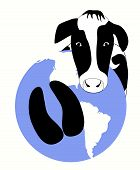 picture of hoof prints  - A vector graphic of a cow hoof carbon print on the earth - JPG