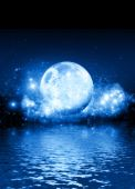 image of blue moon  - A romantic blue moon on a starry background with room for text to be dropped in - JPG
