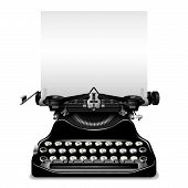 stock photo of typewriter  - The vector old typewriter with a paper - JPG
