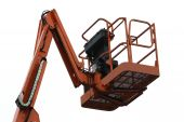 stock photo of cherry-picker  - An Orange Hydraulic and Mechanical Lift  - JPG