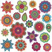 stock photo of hippies  - Vector Collection of Doodle Style Flowers or Mandalas - JPG