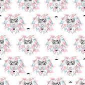 pic of incognito  - Seamless african geometric zebra lion incognito hipster illustration background pattern in vector - JPG