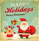 picture of christmas greeting  - Illustration of Santa claus and Christmas reindeer in Christmas background - JPG