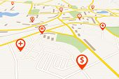 foto of gps  - Map with red pin pointers - JPG