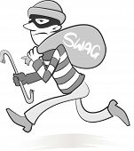pic of swag  - Vector Retro style illustration of a burglar running away with his swag and ill - JPG