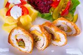 stock photo of jalapeno  - Stuffed chicken rolls with sundried tomatoes and jalapenos - JPG