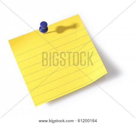 Yellow blank note with blue pin on white background