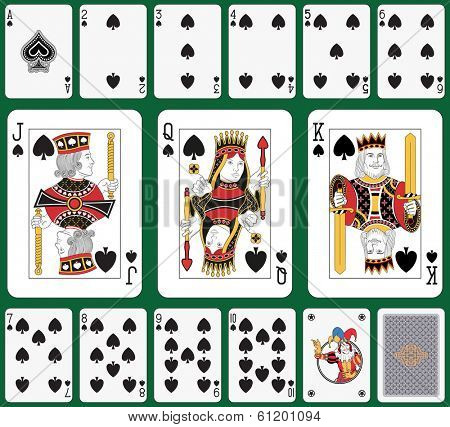 Playing cards spade suit, joker and back. Faces double sized. Green background in a separate level in vector file