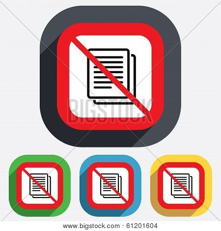 No Copy file sign icon. Duplicate document.