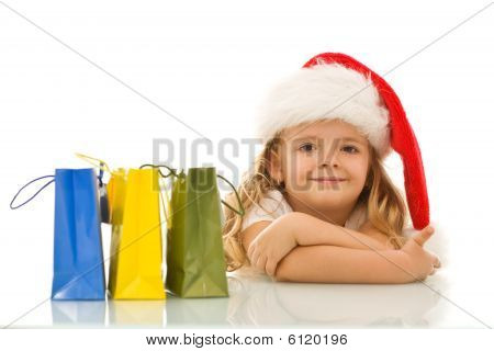 Happy Little Girl Preparing And Waiting For Christmas
