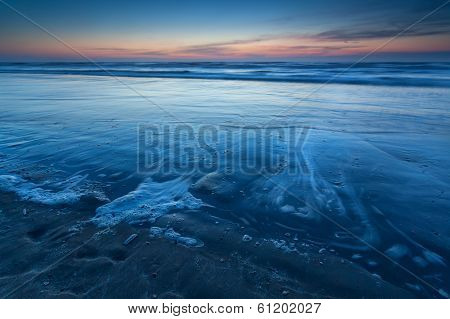 Beach On North Sea In Dusk