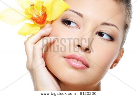 Attractive Beauty Asian Female Face With Flower