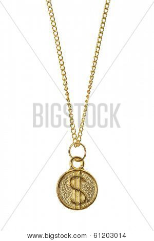 Gold jewelry with dollar sign pendent on white background