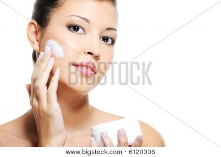 Beauty Asian Female Skincare Of Her Face