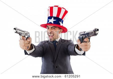 Man with gun and american hat