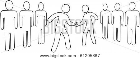 Outline drawing of business leaders merger handshake or partners agreement