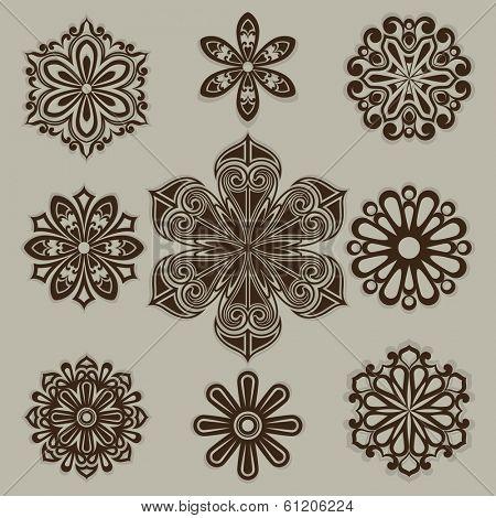 Vintage flower buds vector design elements isolated on white background. Set 3.