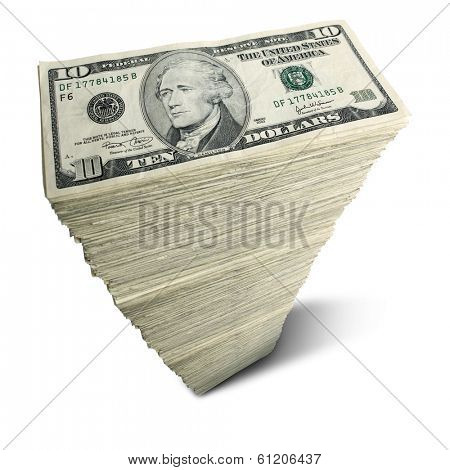 Stack of ten-dollar bills on white background
