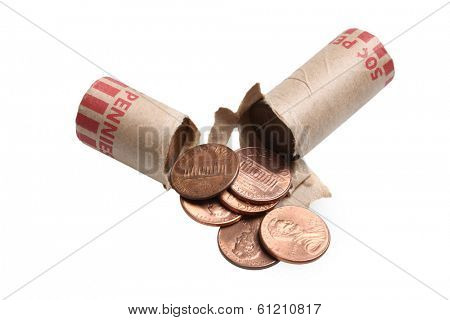 Roll of pennies, cut out on white background