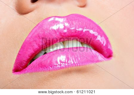 Closeup Beautiful Female Lips With Pink  Lipstick