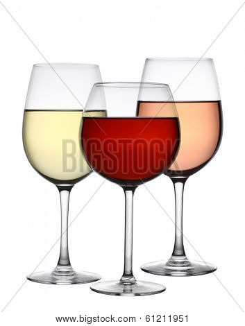 Glasses of red, white, and rose wine cutout, isolated on white background