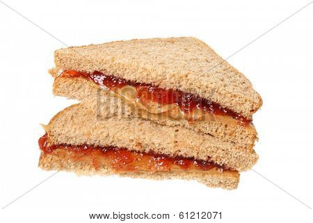 Peanutbutter and jelly sandwich, cutout on white background