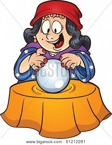 Gypsy woman looking at a crystal ball. Vector clip art illustration with simple gradients. All in a single layer.