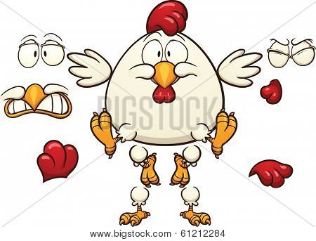 Cartoon chicken ready for animation. Vector clip art illustration with simple gradients. Each element on a separate layer.