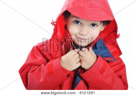 Very Cute Child In Autumn Winter Fashion Clothes